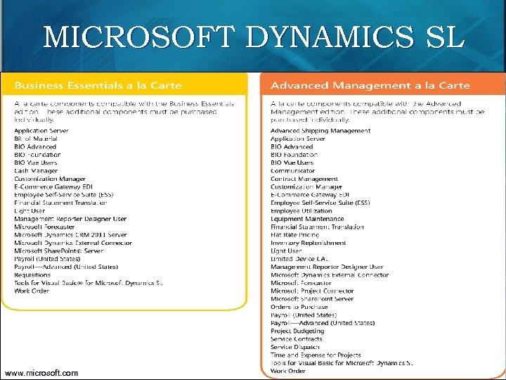 MICROSOFT DYNAMICS SL 105 www. microsoft. com