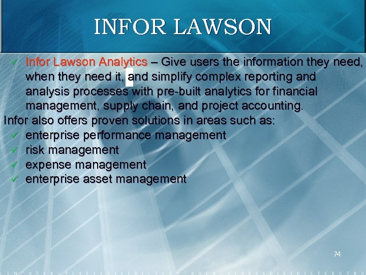 INFOR LAWSON Infor Lawson Analytics – Give users the information they need, when they