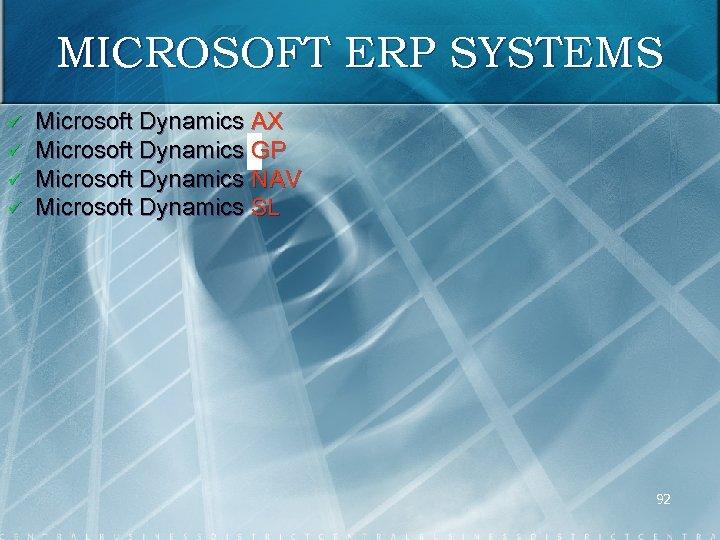 MICROSOFT ERP SYSTEMS ü ü Microsoft Dynamics AX Microsoft Dynamics GP Microsoft Dynamics NAV