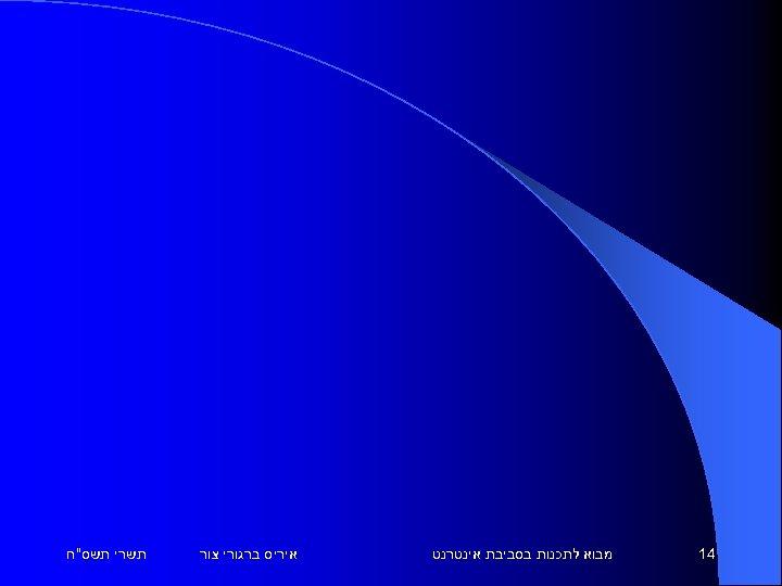 41 מבוא לתכנות בסביבת אינטרנט איריס ברגורי צור תשרי תשס