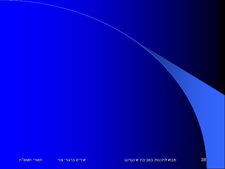 83 מבוא לתכנות בסביבת אינטרנט איריס ברגורי צור תשרי תשס