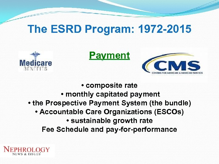 The ESRD Program: 1972 -2015 Payment • composite rate • monthly capitated payment •