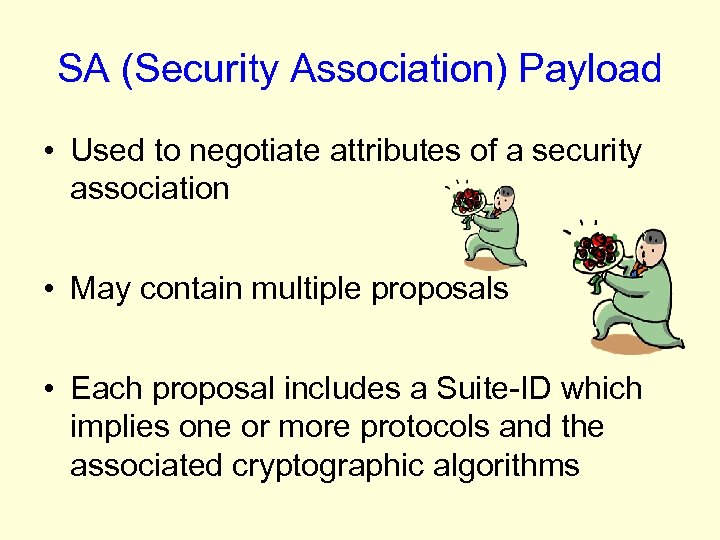 SA (Security Association) Payload • Used to negotiate attributes of a security association •
