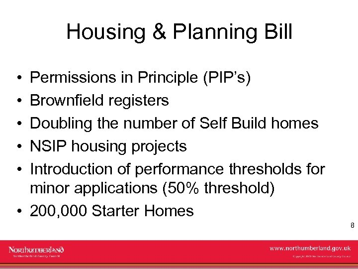 Housing & Planning Bill • • • Permissions in Principle (PIP's) Brownfield registers Doubling