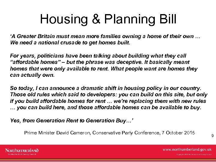 Housing & Planning Bill 'A Greater Britain must mean more families owning a home