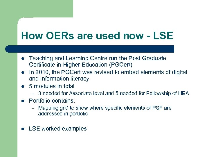 How OERs are used now - LSE l l l Teaching and Learning Centre