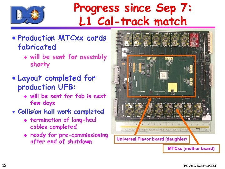 Progress since Sep 7: L 1 Cal-track match · Production MTCxx cards fabricated u