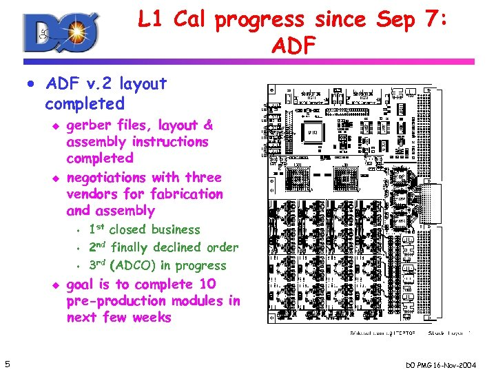 L 1 Cal progress since Sep 7: ADF · ADF v. 2 layout completed