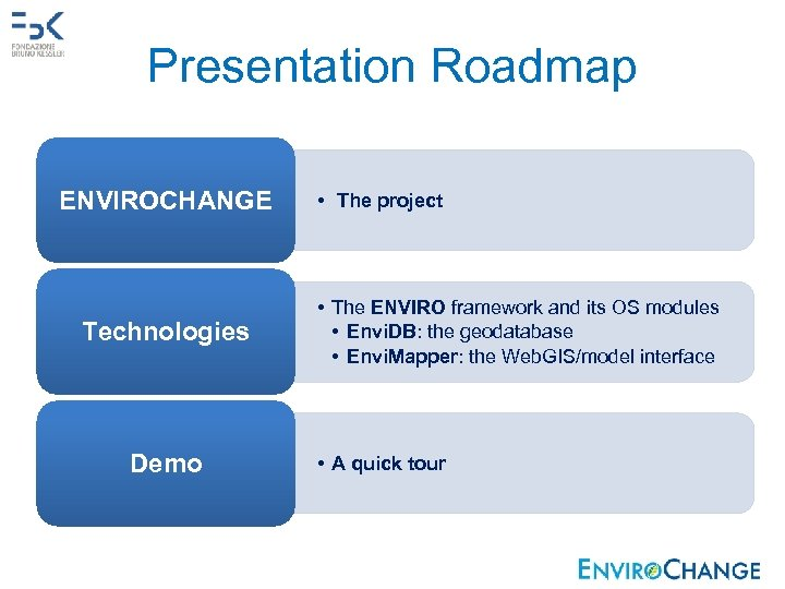 Presentation Roadmap ENVIROCHANGE Technologies Demo • The project • The ENVIRO framework and its