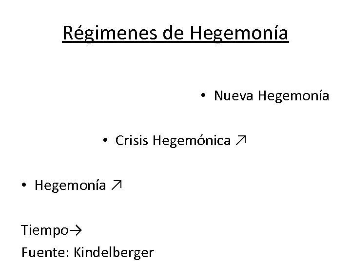 Régimenes de Hegemonía • Nueva Hegemonía • Crisis Hegemónica ↗ • Hegemonía ↗ Tiempo→