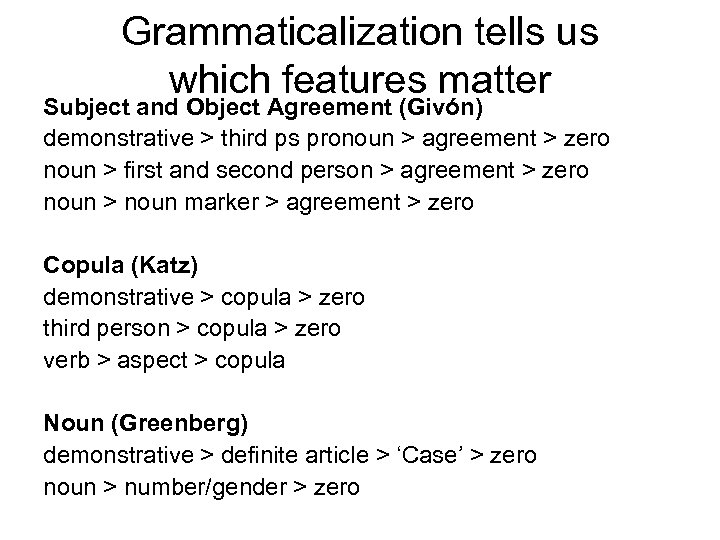 Grammaticalization tells us which features matter Subject and Object Agreement (Givón) demonstrative > third