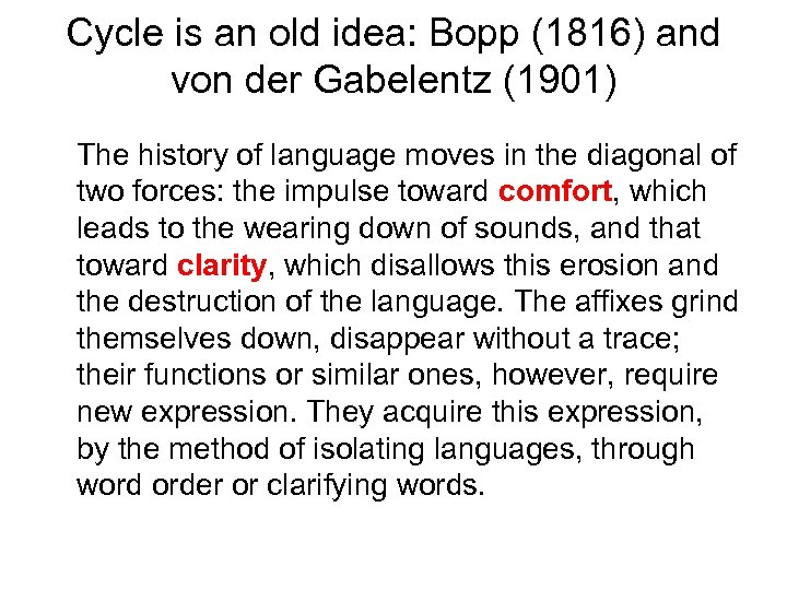 Cycle is an old idea: Bopp (1816) and von der Gabelentz (1901) The history