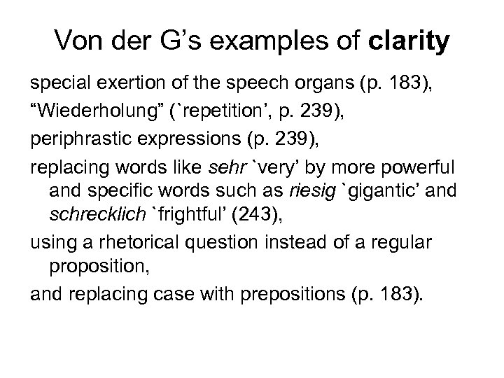 Von der G's examples of clarity special exertion of the speech organs (p. 183),