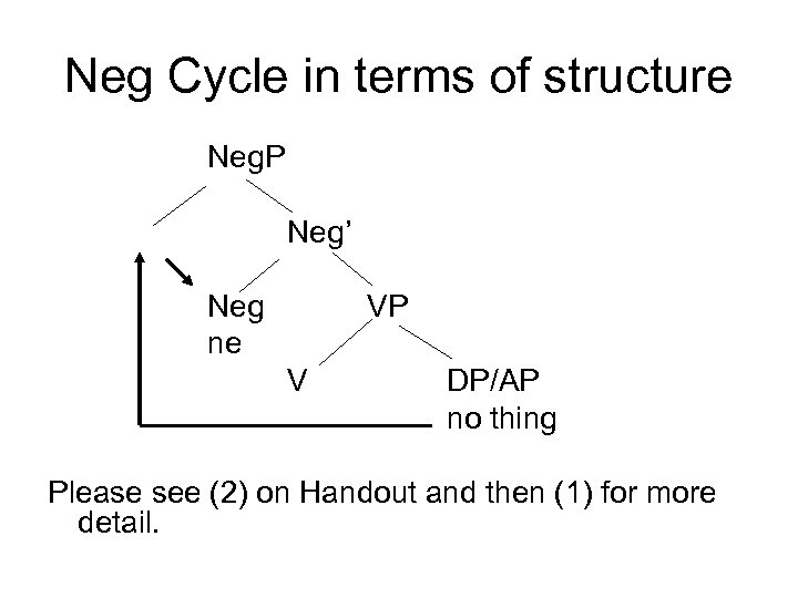 Neg Cycle in terms of structure Neg. P Neg' Neg ne VP V DP/AP