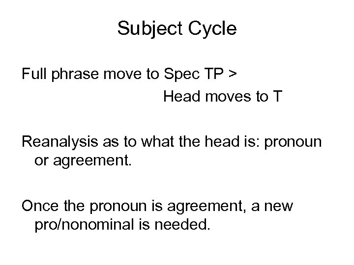 Subject Cycle Full phrase move to Spec TP > Head moves to T Reanalysis