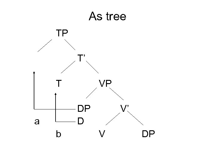 As tree TP T' T VP DP D a b V' V DP