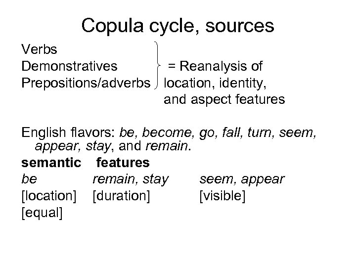 Copula cycle, sources Verbs Demonstratives = Reanalysis of Prepositions/adverbs location, identity, and aspect features