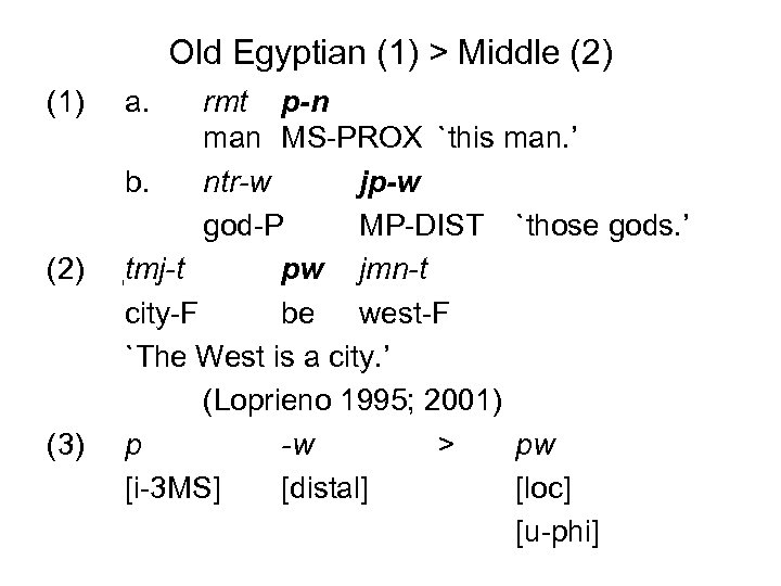 Old Egyptian (1) > Middle (2) (1) (2) (3) a. rmt p-n man MS-PROX