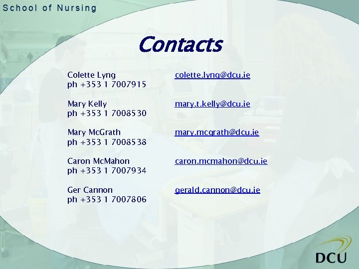 Contacts Colette Lyng ph +353 1 7007915 colette. lyng@dcu. ie Mary Kelly ph +353