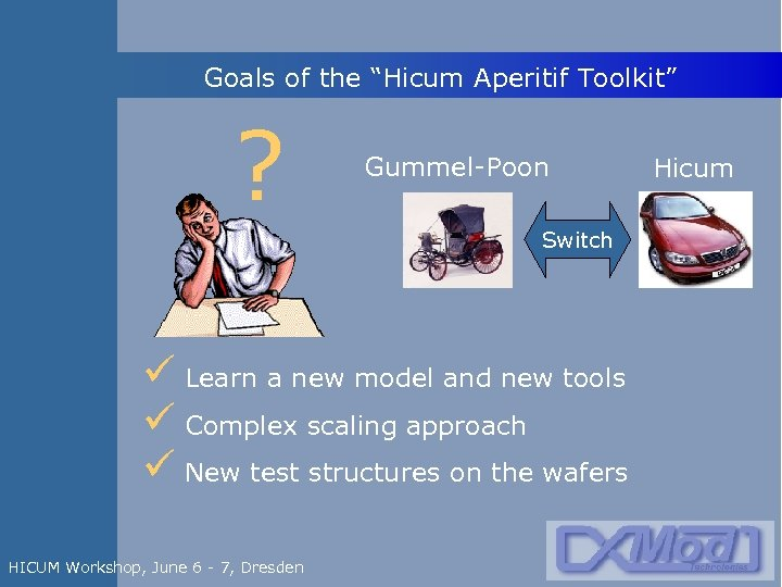 """Goals of the """"Hicum Aperitif Toolkit"""" ? Gummel-Poon Switch ü Learn a new model"""