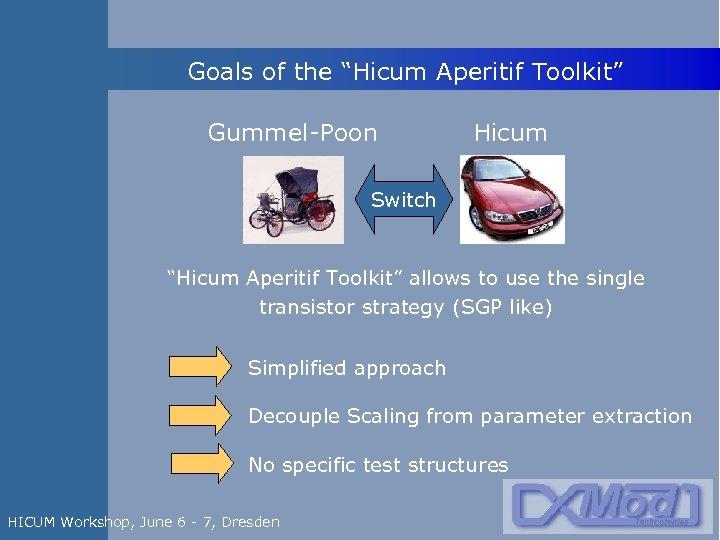 """Goals of the """"Hicum Aperitif Toolkit"""" Gummel-Poon Hicum Switch """"Hicum Aperitif Toolkit"""" allows to"""