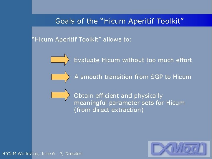 """Goals of the """"Hicum Aperitif Toolkit"""" allows to: Evaluate Hicum without too much effort"""
