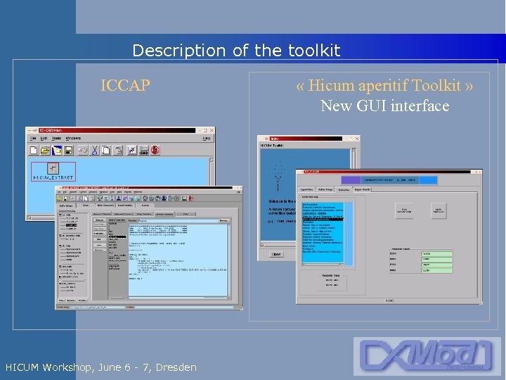 Description of the toolkit ICCAP HICUM Workshop, June 6 - 7, Dresden « Hicum