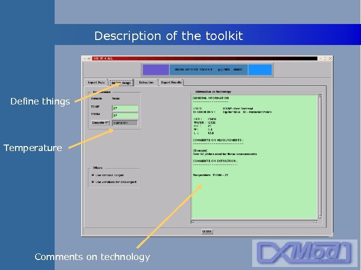 Description of the toolkit Define things Temperature Comments on technology
