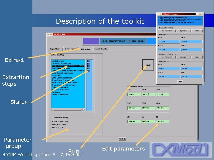 Description of the toolkit Extraction steps Status Parameter group Run HICUM Workshop, June 6