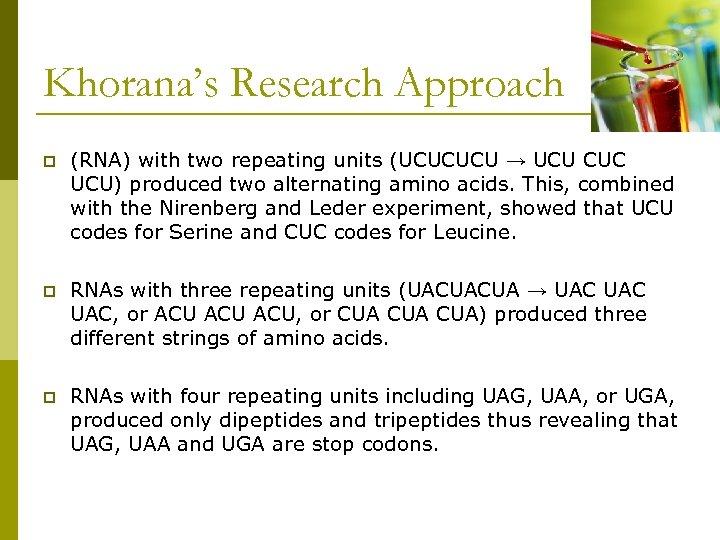 Khorana's Research Approach p (RNA) with two repeating units (UCUCUCU → UCU CUC UCU)