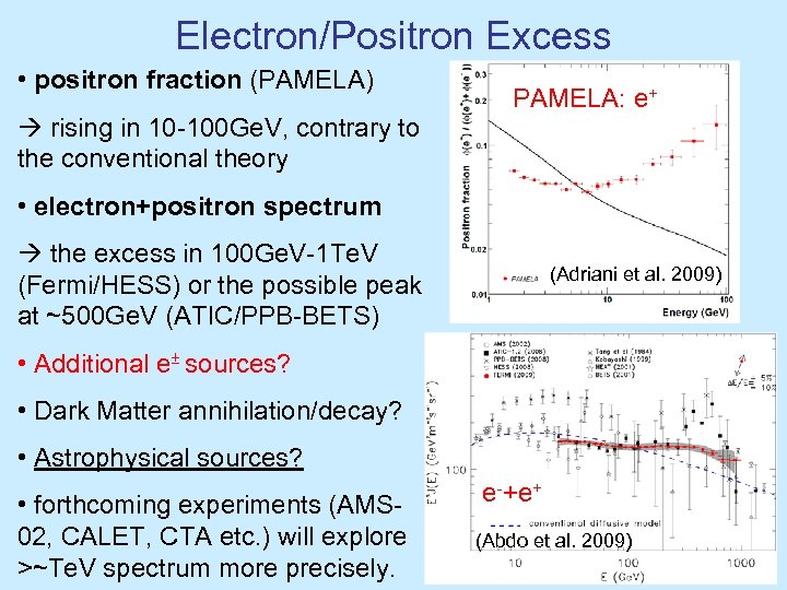 Electron/Positron Excess • positron fraction (PAMELA) rising in 10 -100 Ge. V, contrary to