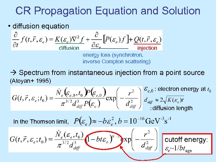 CR Propagation Equation and Solution • diffusion equation diffusion injection energy loss (synchrotron, inverse
