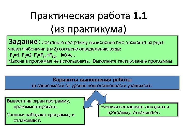 Практическая работа 1. 1 (из практикума) Задание: Составьте программу вычисления n-го элемента из ряда