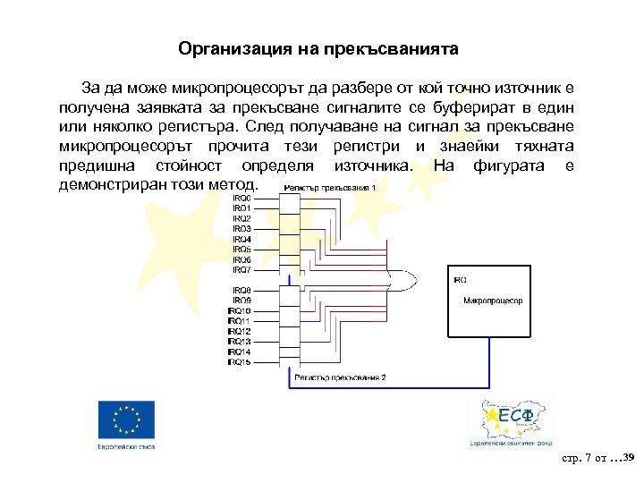 Организация на прекъсванията За да може микропроцесорът да разбере от кой точно източник е