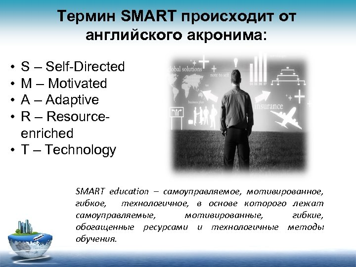 Термин SMART происходит от английского акронима: • • S – Self-Directed M – Motivated