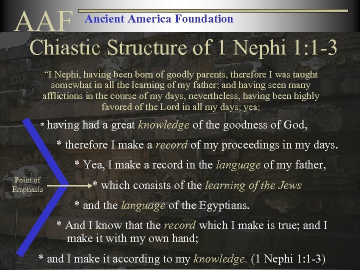 """AAF Ancient America Foundation Chiastic Structure of 1 Nephi 1: 1 -3 """"I Nephi,"""