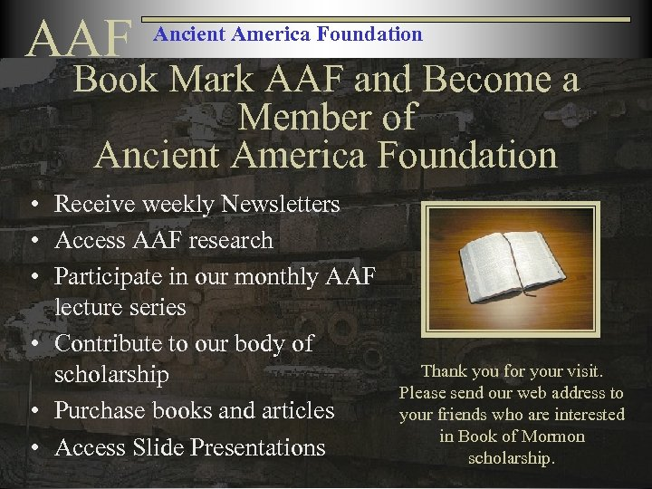 AAF Ancient America Foundation Book Mark AAF and Become a Member of Ancient America