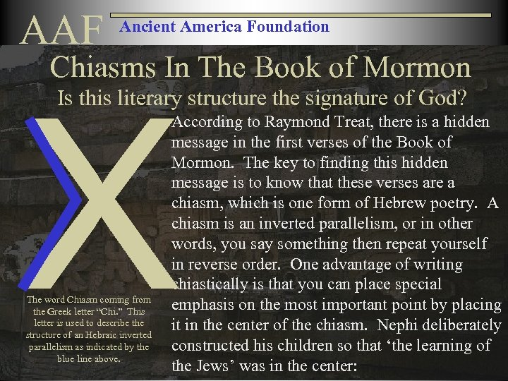 AAF Ancient America Foundation Chiasms In The Book of Mormon X Is this literary