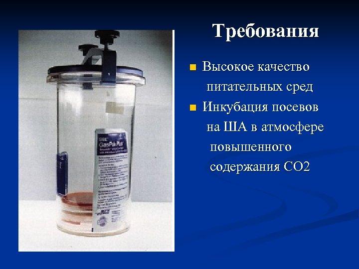 Требования Высокое качество питательных сред n Инкубация посевов на ША в атмосфере повышенного содержания