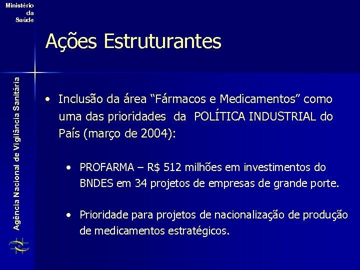 Ministério da Saúde Agência Nacional de Vigilância Sanitária Ações Estruturantes • Inclusão da área