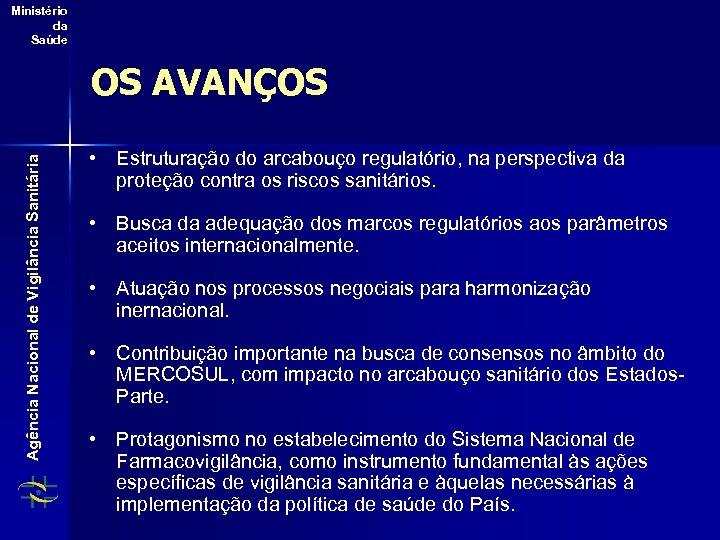 Ministério da Saúde Agência Nacional de Vigilância Sanitária OS AVANÇOS • Estruturação do arcabouço