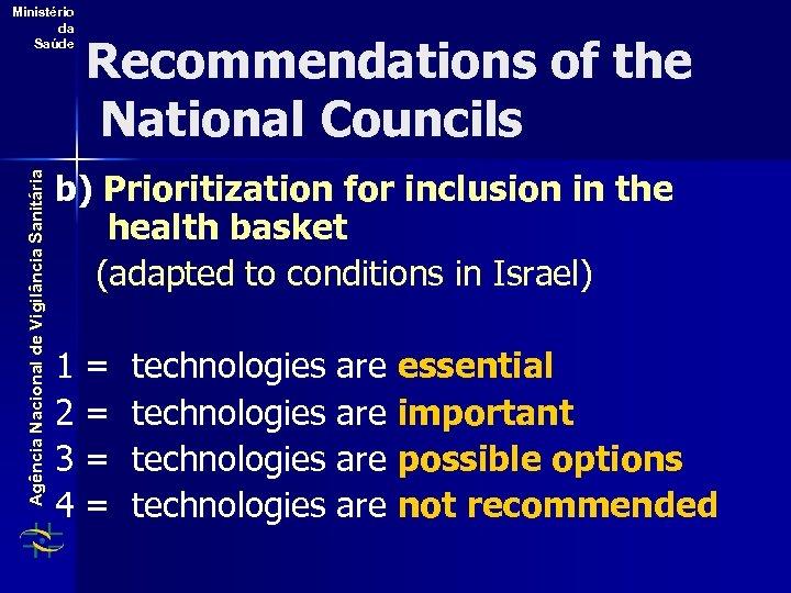 Agência Nacional de Vigilância Sanitária Ministério da Saúde Recommendations of the National Councils b)