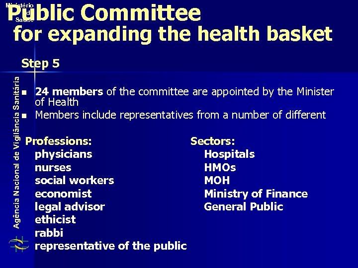 Public Committee Ministério da Saúde for expanding the health basket Agência Nacional de Vigilância