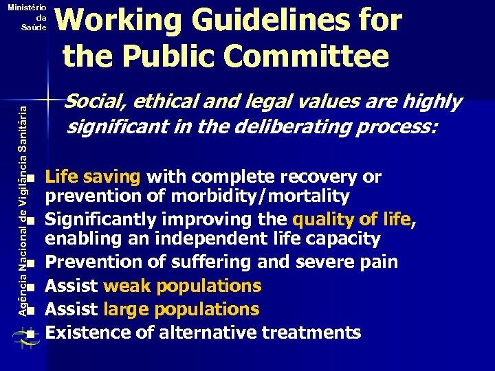 Agência Nacional de Vigilância Sanitária Ministério da Saúde n n n Working Guidelines for