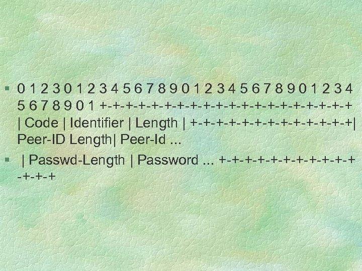 § 012345678901234 5 6 7 8 9 0 1 +-+-+-+-+-+-+-+-+-+-+ | Code | Identifier