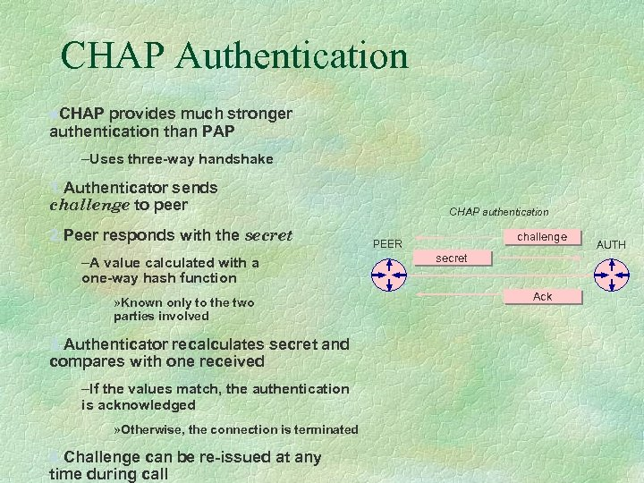 CHAP Authentication n. CHAP provides much stronger authentication than PAP –Uses three-way handshake 1.