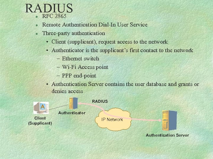 RADIUS RFC 2865 l l l Remote Authentication Dial-In User Service Three-party authentication •