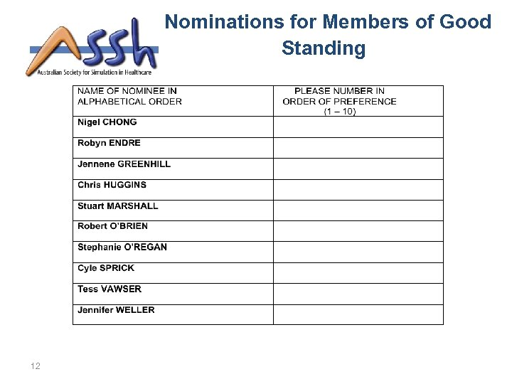 Nominations for Members of Good Standing 12