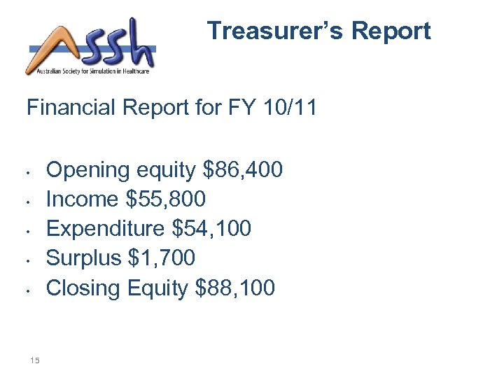 Treasurer's Report Financial Report for FY 10/11 Opening equity $86, 400 Income $55, 800