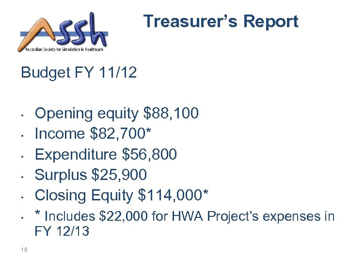 Treasurer's Report Budget FY 11/12 • • • Opening equity $88, 100 Income $82,